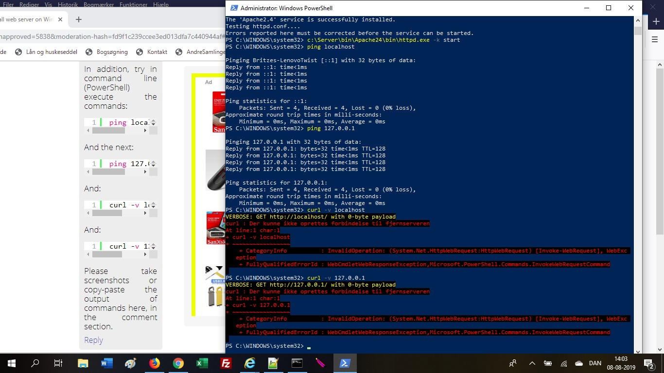 How to install web server on Windows 10 (Apache 2 4, PHP 7