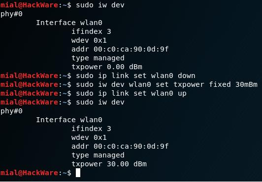 How to increase TX-Power of Wi-Fi adapters in Kali Linux in 2018