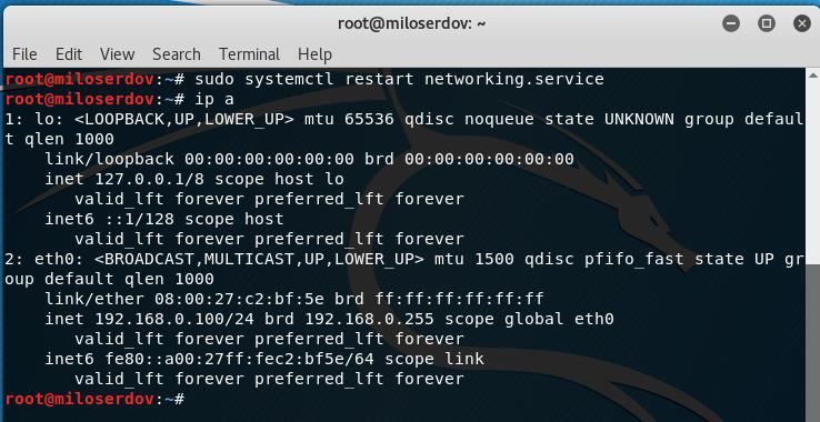 Configure static ip address kali linux
