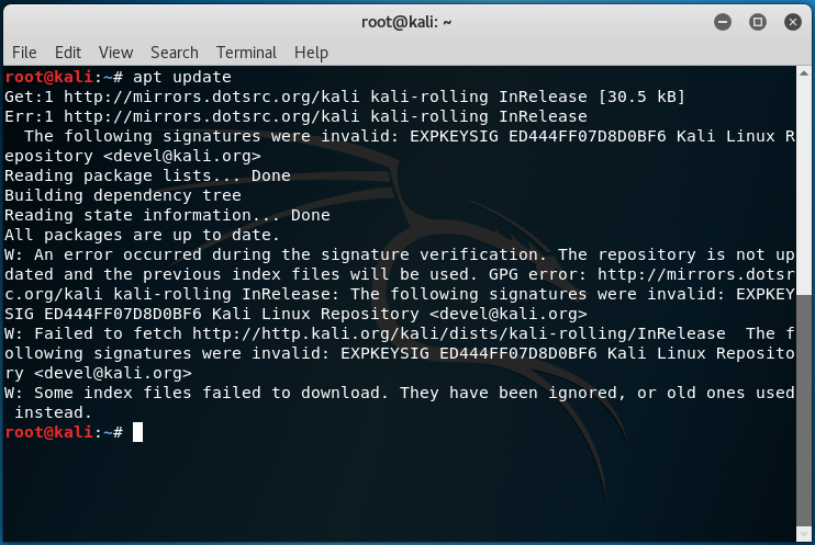 Error in Kali Linux 'The following signatures were invalid