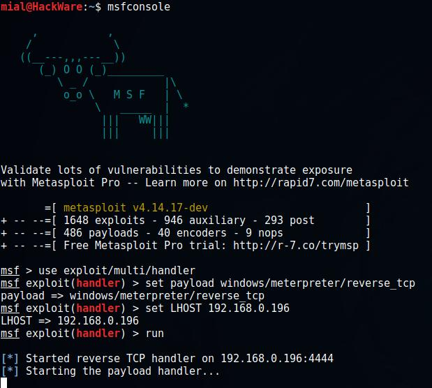 Concealed control of a Windows-based computer (using Metasploit
