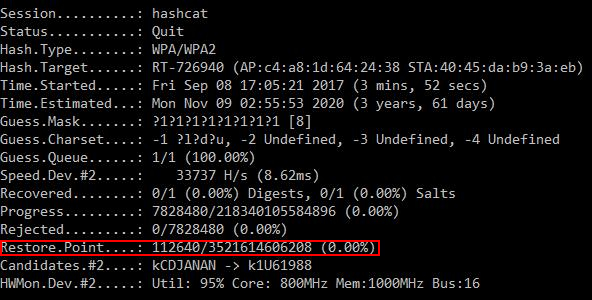 How to continue brute-force from the hashcat restore point (hashcat